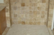 Travertine tile shower in Fort Collins, Colorado