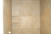 Porcelain bathroom shower tile installation in Fort Collins, Colorado