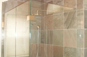 Slate master bathroom shower tile installation in Fort Collins, Colorado