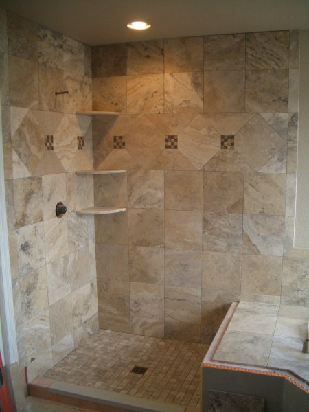travertine master bathroom tile in