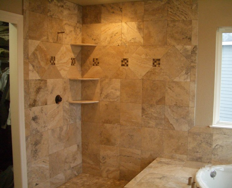 Travertine master bathroom tile in windsor for Bathroom travertine tile designs