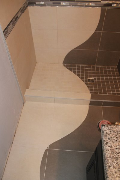Continuous shower design through floor