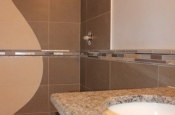 Custom metal, glass, marble mosaic liner