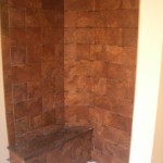 Running bond porcelain shower in Red Feather Lakes