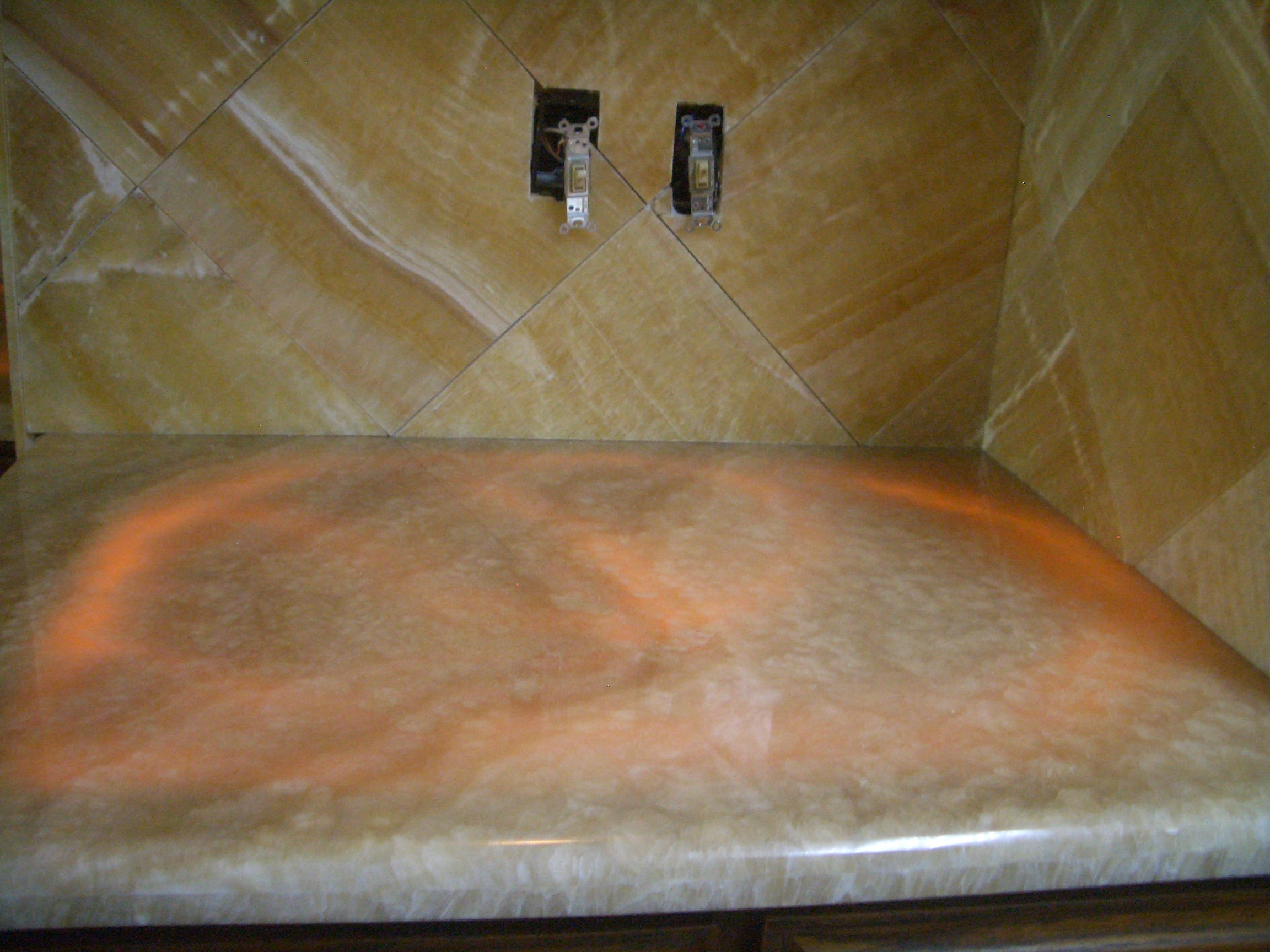 kitchen onyx slab countertop with honey onyx backsplash fort collins