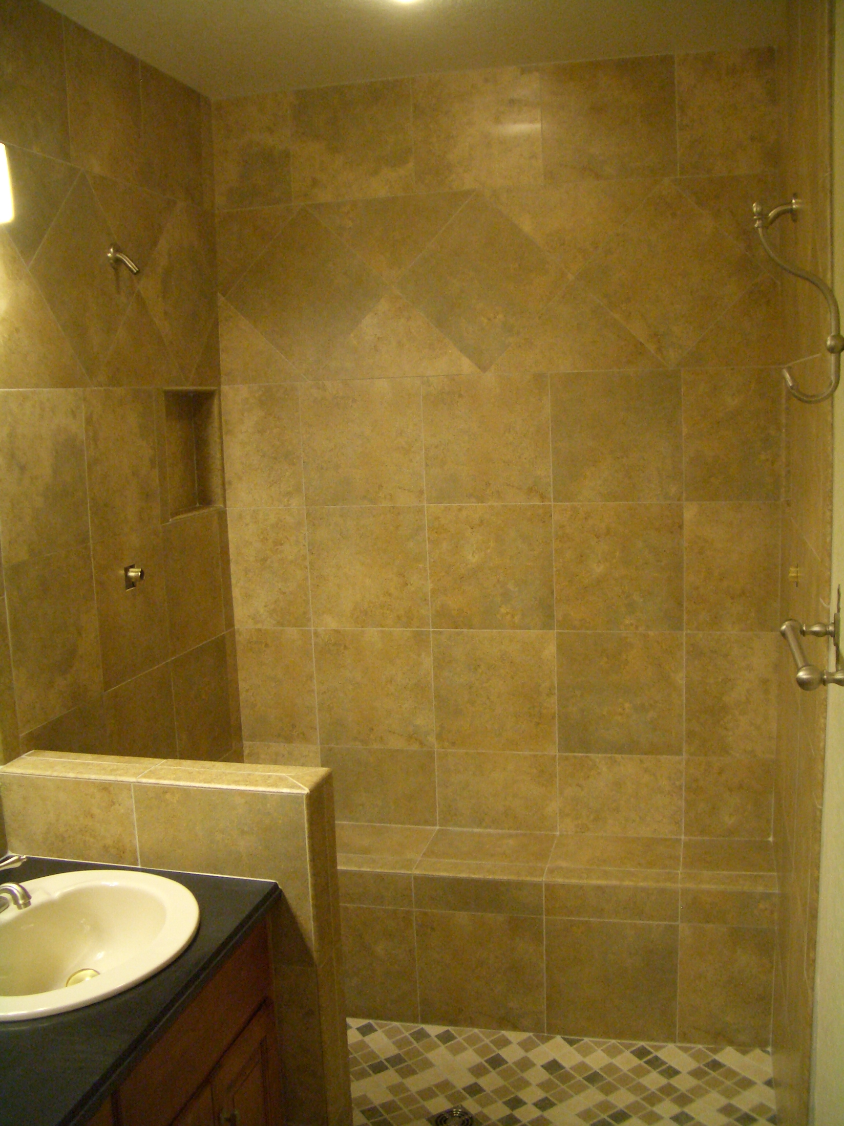 Full kerdi shower tile remodel in fort collins for Tiled bathroom designs pictures