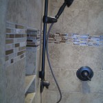 Glass and Travertine tile for liner in kerdi shower