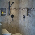 Porcelain, glass, and travertine Kerdi shower remodel in Fort Collins