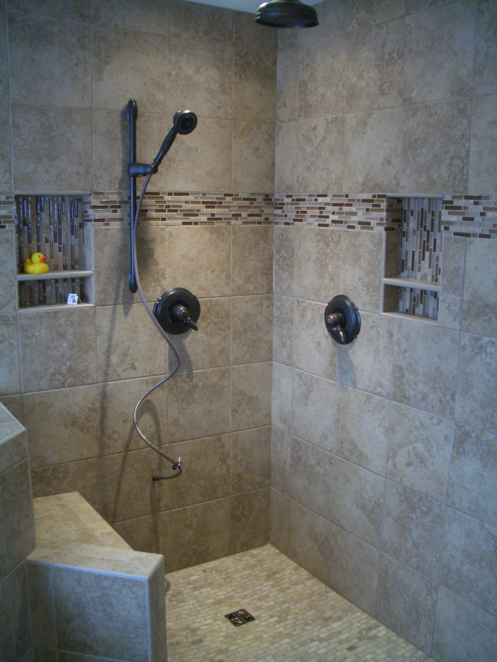 Kerdi master bathroom shower remodel in fort collins Shower tile layout