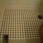 Octagonal mosaic tile floors with black dot in Erie, CO