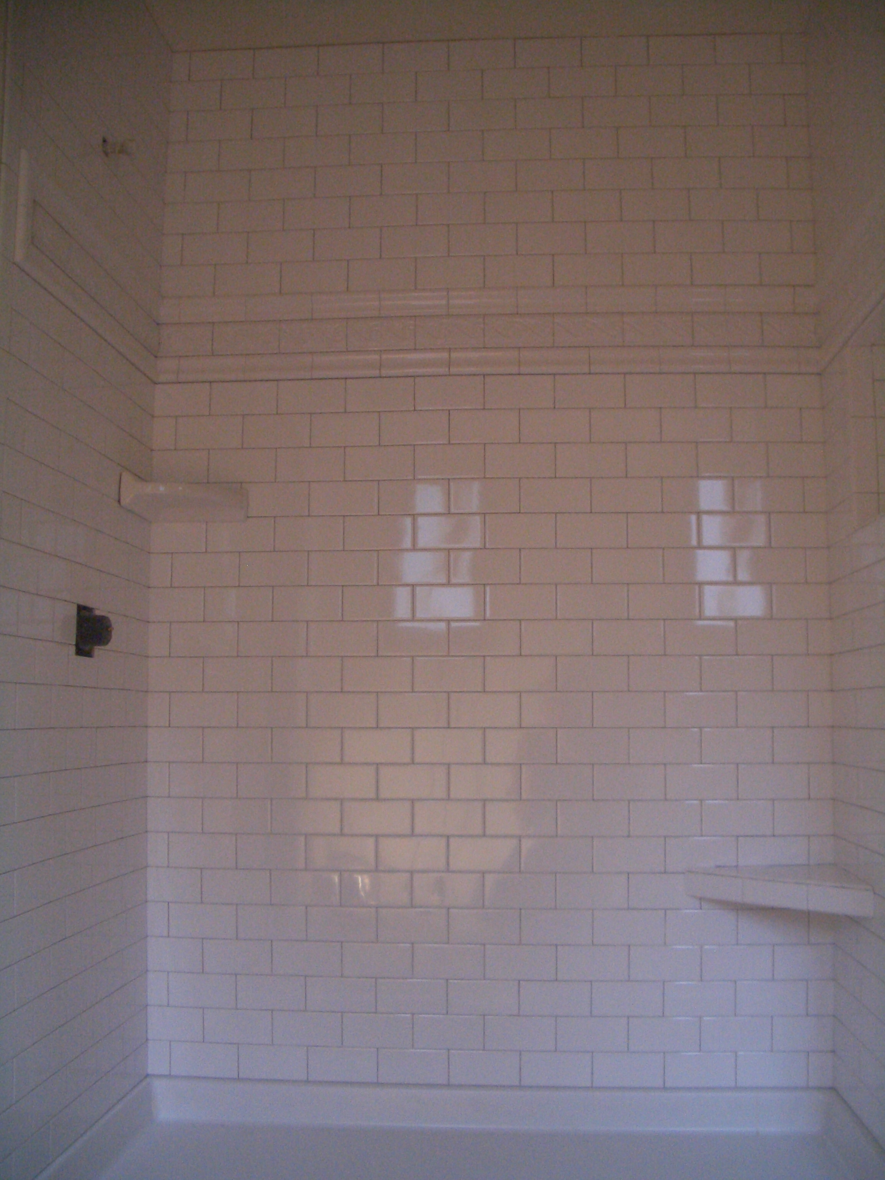 recently finished a shower with 3 x 6 inch ceramic subway tiles. I