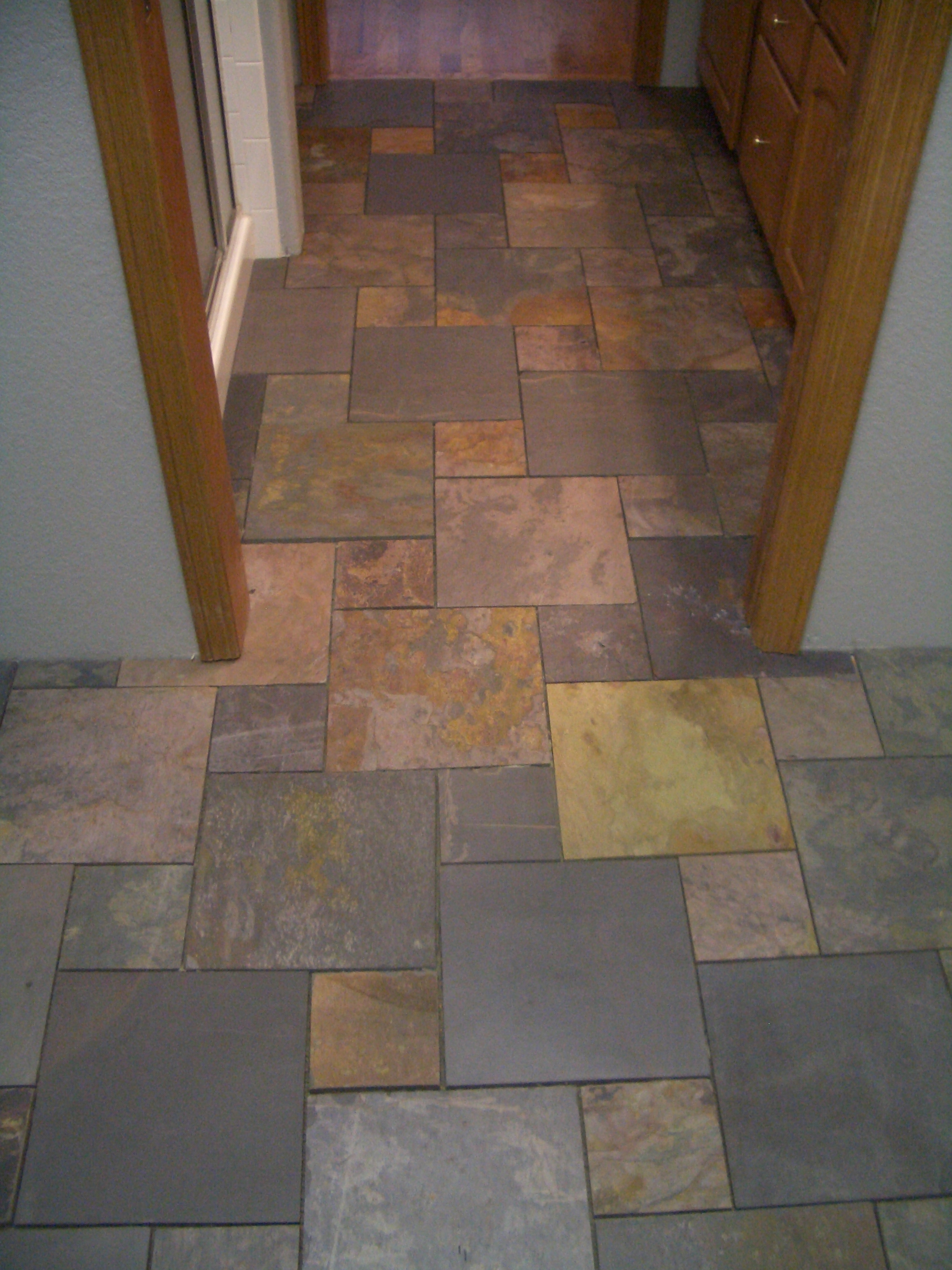 Slate pinwheel bathroom floor for Slate tile bathroom ideas