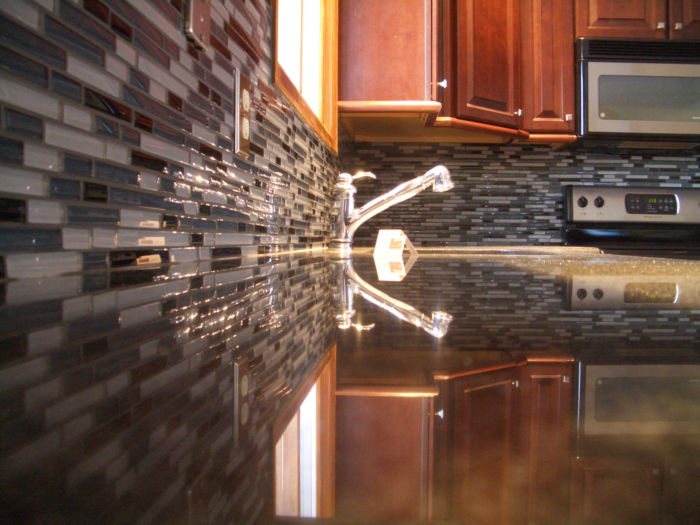 Unique holiday gift idea glass kitchen backsplash Backsplash tile installation