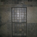 Slate-like porcelain kerdi shower niche in Fort Collins
