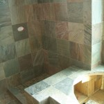 Honed Slate kerdi master bathroom shower and tub deck