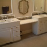 Glass tile vanity backsplash in Fort Collins, CO