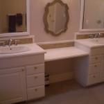 Bathroom Glass tile vanity backsplash installation in Fort Collins, Colorado