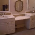 Bathroom Glass tile vanity backsplash installation in Fort Collins, Colorado