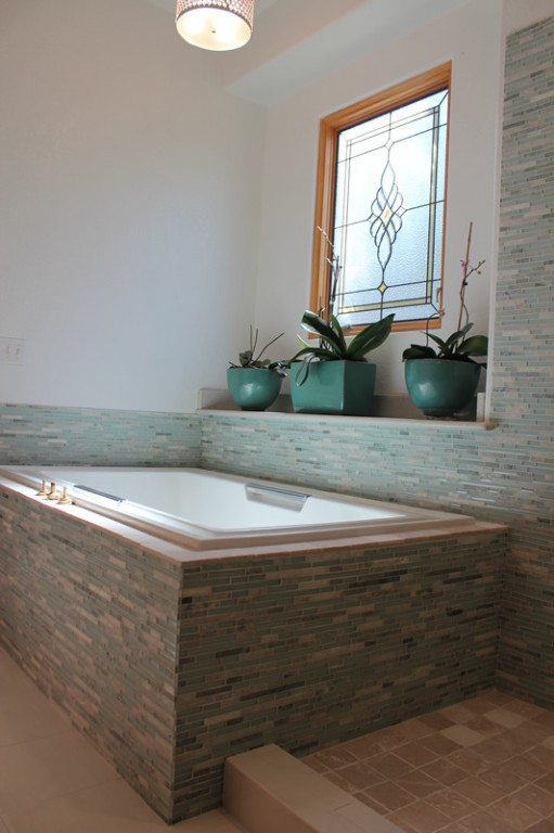Glass and Marble master bathroom