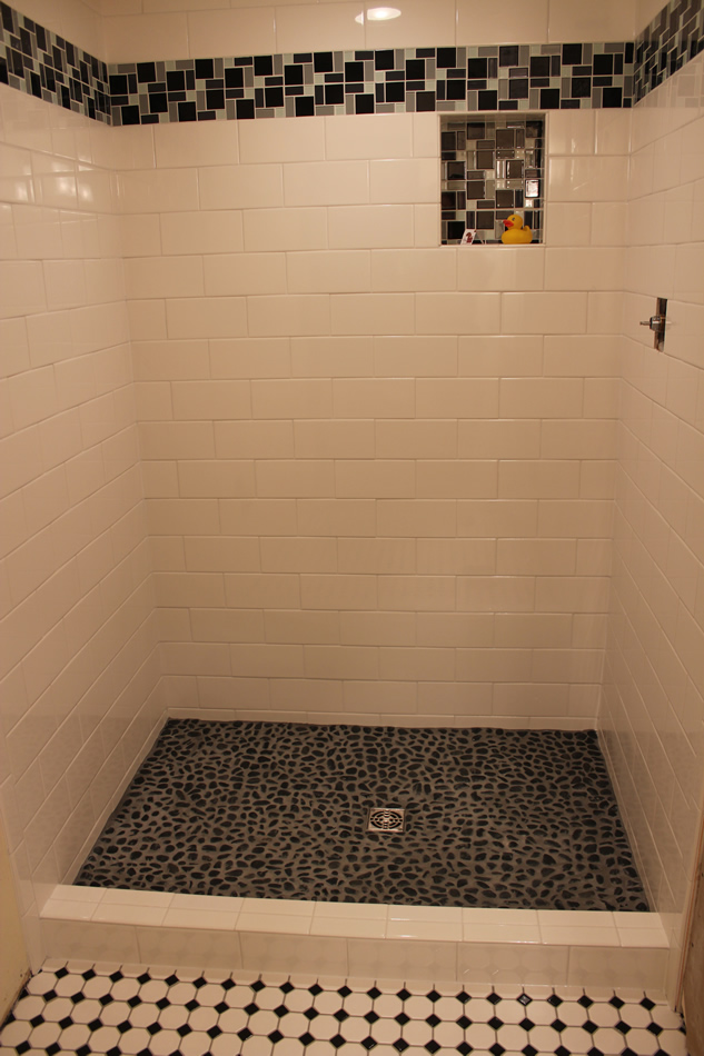 Subway Shower With River Rock Floor