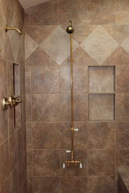 Porcelain tile master bathroom shower in Fort Collins, Colorado