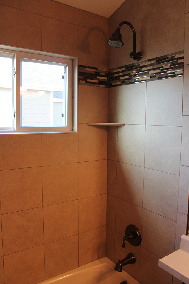 porcelain and glass mosaic bathroom shower in fort collins