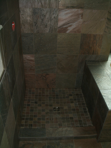 Slate shower tile installation in Erie, Colorado