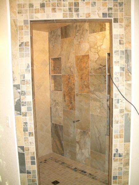 Porcelain master bathroom steam shower tile installation in Fort Collins, Colorado