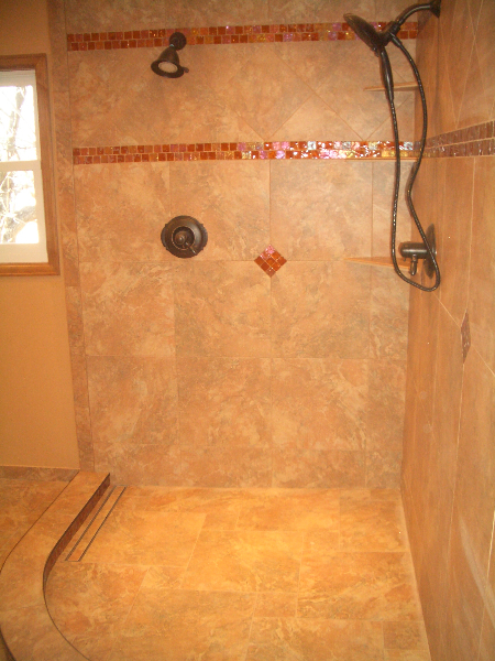 Porcelain and glass shower tile installation with linear drain in Fort Collins, Colorado