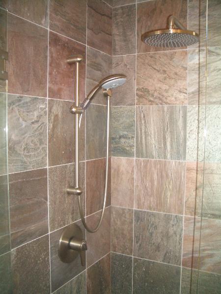 Slate shower tile installation in Northern Colorado