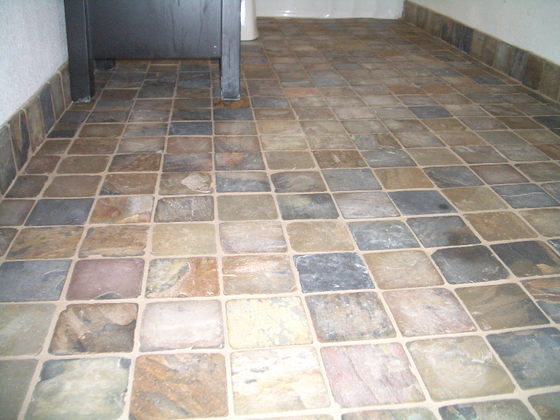 Slate Bathroom Floor Tile Installation In Fort Collins Colorado