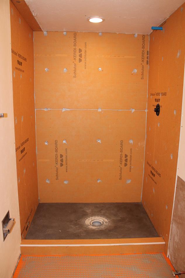 Kerdi-board shower waterproofing