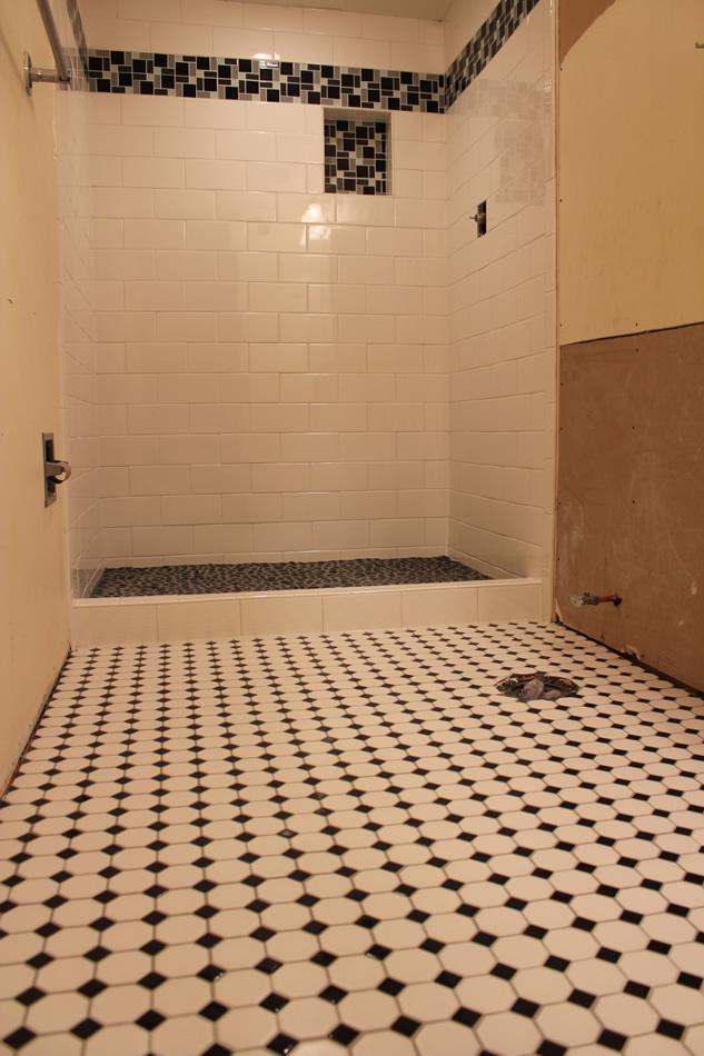 Black and white subway shower