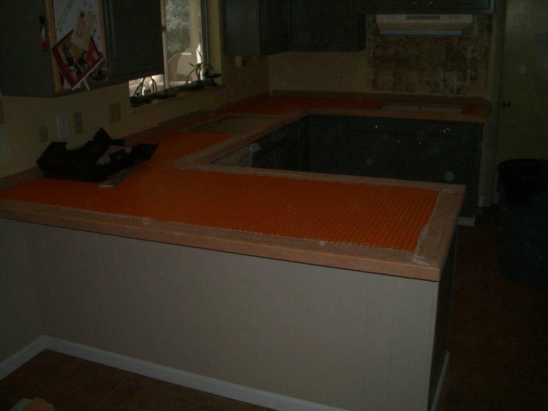 Kitchen Granite Tile Countertop and Glass Backsplash ditra