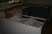 Kitchen Granite Tile Countertop and Glass Backsplash demo