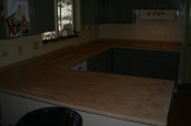 Kitchen Granite Tile Countertop and Glass Backsplash substrate