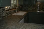Kitchen Granite Tile Countertop and Glass Backsplash final 2