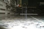 Kitchen Granite Tile Countertop and Glass Backsplash end 1