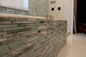 Glass and marble with porcelain master bathroom in Windsor