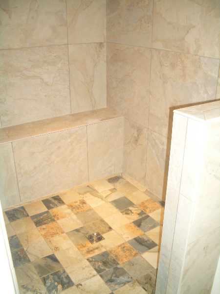 Shower bench and floor