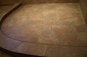 Porcelain shower floor with Schluter linear drain