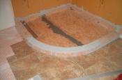 Porcelain floor tile and shower pan flood testing