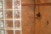 Taconic slate master bathroom shower with glass inserts