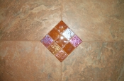 Porcelain and glass mosaic accent master bathroom in Fort Collins
