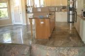 Rainforest green kitchen floor tile installation with in-floor heat