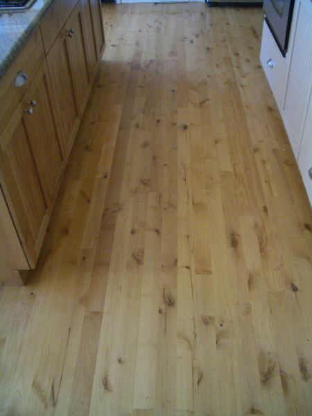 Wood floor before marble installation