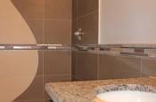 Custom metal, glass, marble mosaic liner
