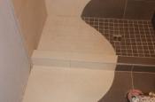 Continuous shower design through floor