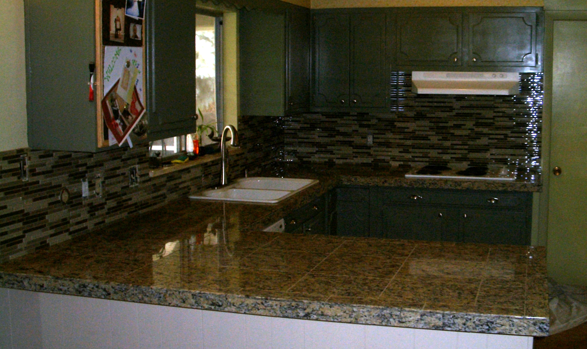 Kitchen Granite Tile Countertop And Glass Backsplash Tile Art Center
