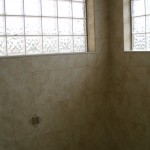Glass block windows in steam shower Tile Contractor Fort Collins, Colorado